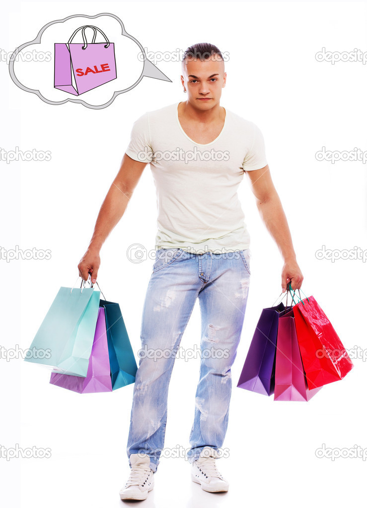 Man is holding bags after shopping and thinking about sale