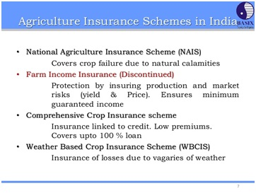 agriculture income insurance scheme