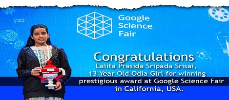 Odisha school girl wins award at Google Science Fair