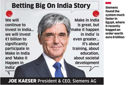 Siemens to invest one billion euro in India