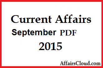 Current Affairs September 2015 PDF