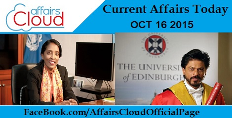 Current Affairs Today Oct 16 2015
