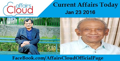 Current Affairs Today 23 January 2016