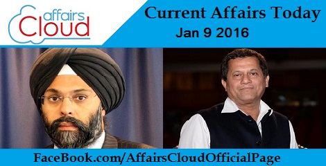 Current Affairs Today 9 January 2016