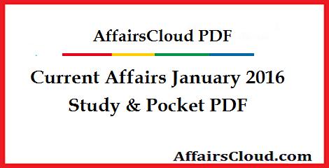 Current Affairs January 2016 PDF