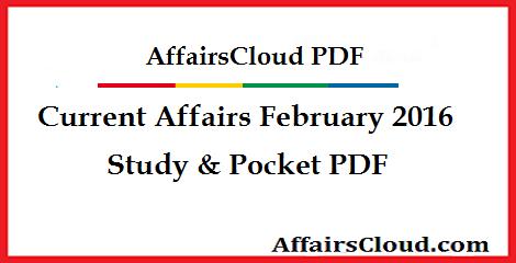 Current Affairs February 2016 PDF