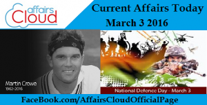 Current Affairs Today Mar 3 2016