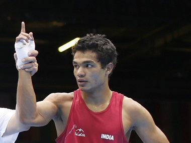 India's Vikas fights declared winner against Spence of the U.S. in their Men's Welter (69kg) Round of 16 boxing match during the London 2012 Olympic Games
