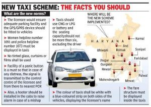 Haryana Government Approved NCR TAXI SCHEME for its 13 Districts