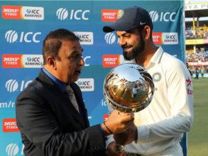 Virat Kohli presented with ICC Test Championship mace