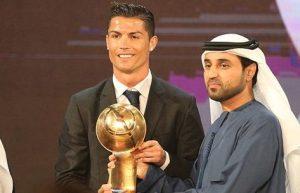 Real Madrid's Ronaldo honoured at Globe Soccer Awards