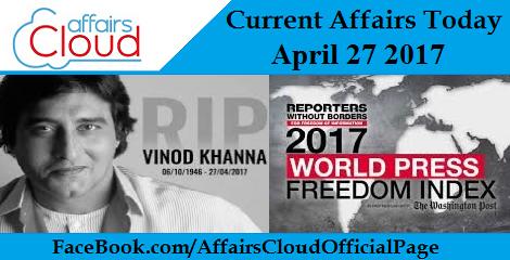 Current Affairs April 27 2017