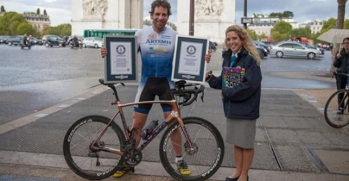 British cyclist Mark Beaumont sets world record by cycling around the world in 79 days