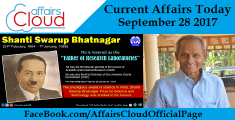 Current Affairs Today - September 28 2017