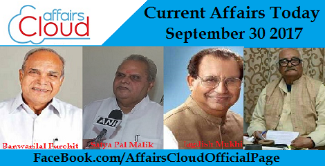 Current Affairs Today - September 30 2017