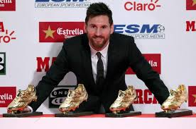 Lionel Messi receives his fourth European Golden Shoe award