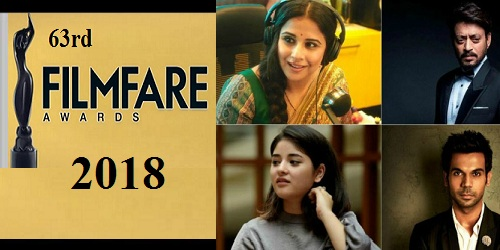 63rd Filmfare Awards 2018 -Complete List of Winners