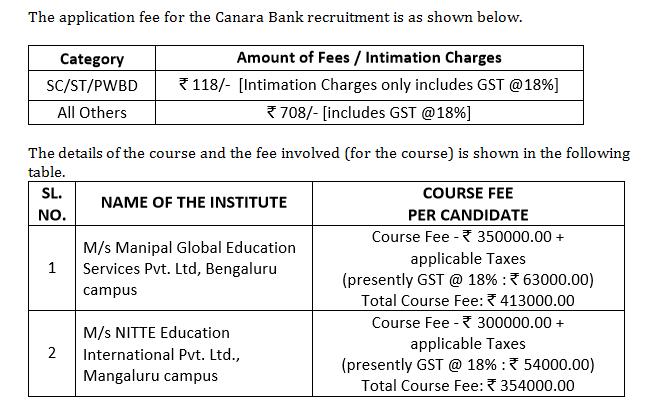 Canara Bank PO 2018 Course fee