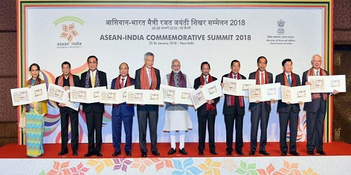 Commemorative postal stamps released to mark 25 years of India-ASEAN ties