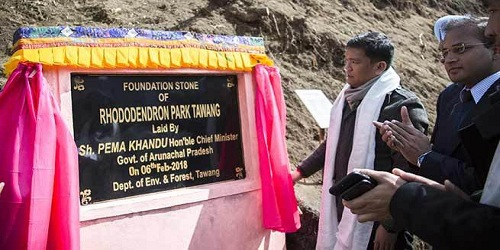 Arunachal Pradesh CM lays foundation stone of Rhodendron Park in Tawang