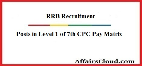 RRB Posts in Level 1 of 7th CPC Pay Matrix 2018 - Exam