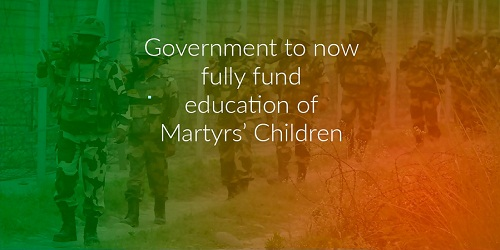 Central Government to fully fund education of martyrs' children