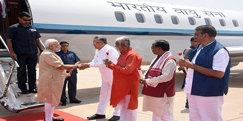 PM Modi arrives in Chhattisgarh, to launch various schemes