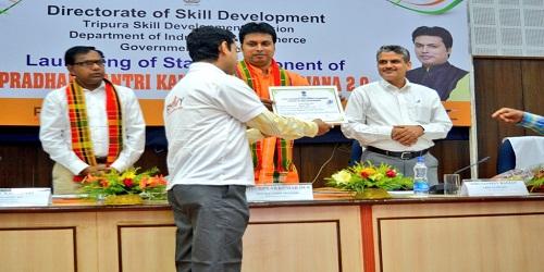Tripura CM Biplab Kumar Deb launches state component of PMKVY in Agartala
