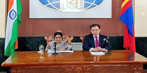 Swaraj co-chairs 6th Joint Committee for Cooperation with Mongolia's Tsogtbaatar