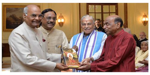 "President Receives the First Copy of ""Adi Shankaracharya: Hinduism's Greatest Thinker"""