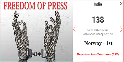 2018 World Press Freedom Index released: India falls to 138th rank