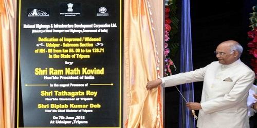 President inaugurates 73 km long National Highway in Tripura
