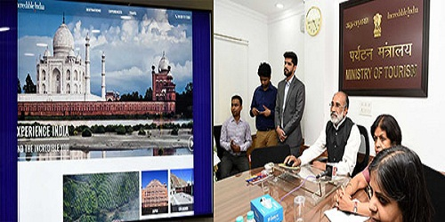 Tourism Minister K.J. Alphons launches the new Incredible India website