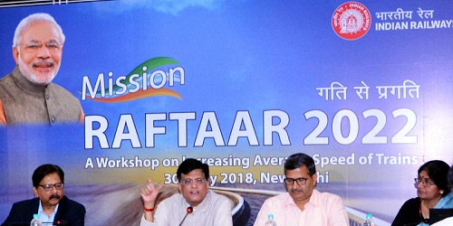 A one day workshop of 'Mission Raftar' aimed at raising the average speed of freight trains and coaching trains organized by the Railway Ministry