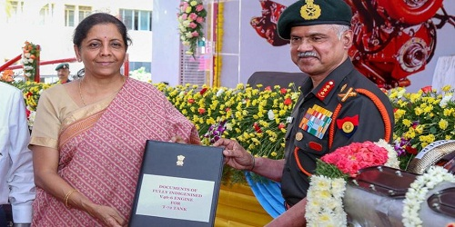 2 'Made in India' engines handed to Army Vice Chief Devaraj Anbu by Defence Minister Nirmala Sitharaman