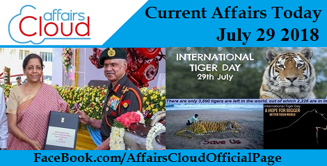 Current Affairs Today July 29 2018