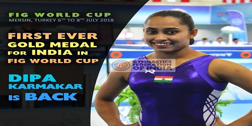 Dipa wins gold in Gymnastics World Cup