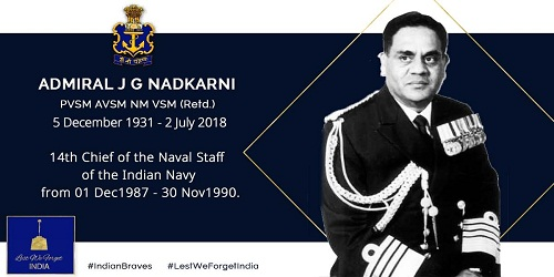 Ex Navy chief Admiral JG Nadkarni Passed away