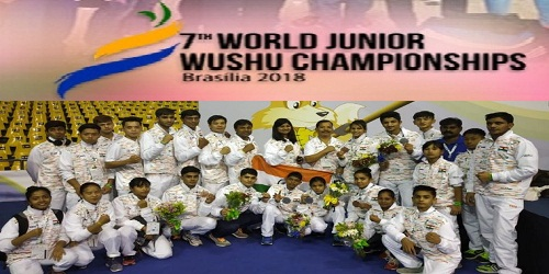 India bags 9 medals - 4 Silver and 5 Bronze in 7th World Junior Wushu championships which was held in Brasilia, Brazil