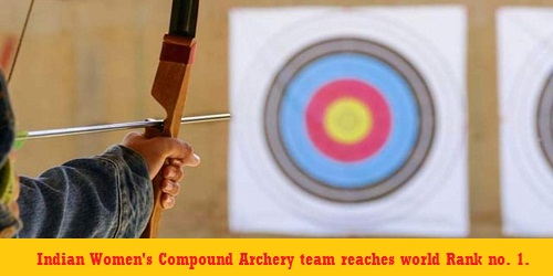Indian women's compound archery team bag number 1 spot in world rankings