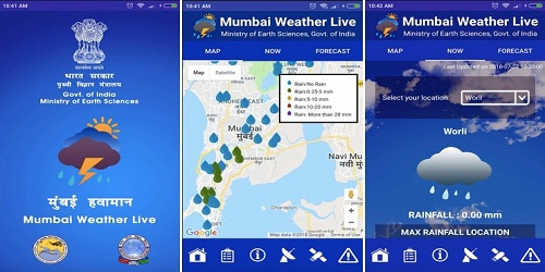 Mumbai Weather Live : a mobile application that to provide information on extreme weather events in Mumbai launched by The Union Ministry of Earth Sciences (MoES).