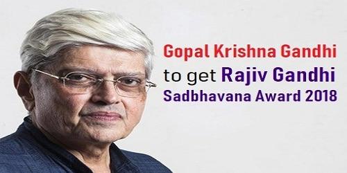Gopalkrishna Gandhi conferred with 2018 Rajiv Gandhi National Sadbhavana Award