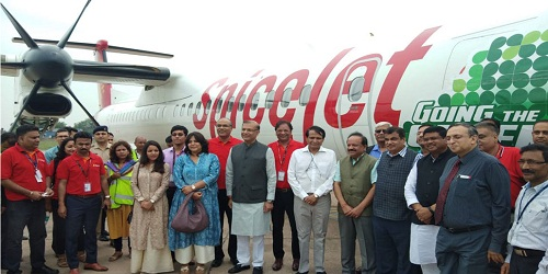Bombardier Q400 turboprop:India's first biofuel flight from Dehradun to Delhi operated by Spice Jet took off