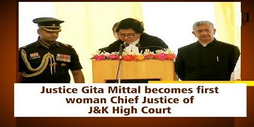 Justice Gitta Mittal became the first woman Chief Justice of J&K High Court