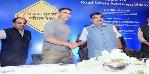 Union Minister Nitin Gadkari launched road safety awareness videoin collaboration with Akshay Kumar andR Balkhasve
