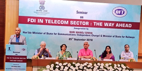 Manoj Sinha, communications minister inaugurated seminar on FDI at New Delhi