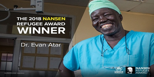South Sudanese surgeon Dr. Evan Atar Adaha receives 2018 Nansen Refugee Award