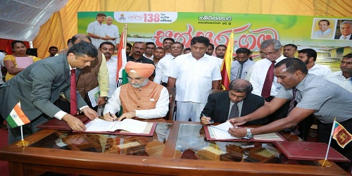 India and Sri Lanka sign two MoU for construstion of 1200 houses