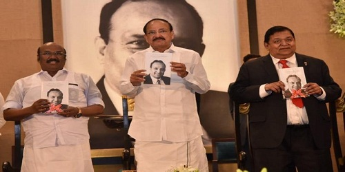 Vice President releases biography of Anumolu Ramakrishna titled 'Building a Legacy'
