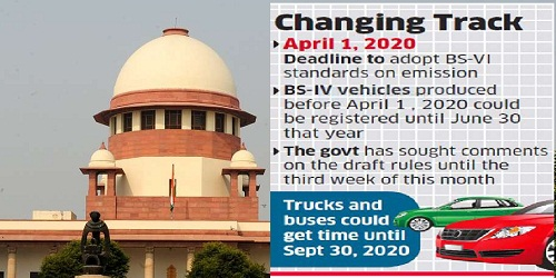 final deadline for Bharat Stage IV cars as April 1, 2020